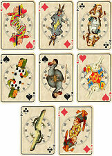 Vintage inspired Alice in Wonderland ivory playing cards tags set 2 ATC set of 8