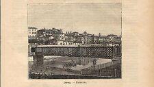 Stampa antica IVREA veduta panoramica Torino 1891 Old antique print