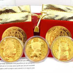 2021 Year of The Ox Commemorative Coin Chinese Zodiac Souvenir Coin with red  YU
