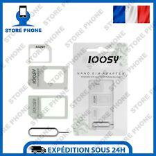 Kit Adaptateur Carte Sim 4 En 1 Micro Nano Sim iPhone Samsung Huawei Etc Blanc
