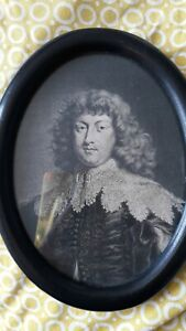Antique engraving Nobleman 18th century later Dark wood frame from Argentina