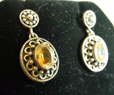 Sterling Silver Amber Colored Stone India .925 Earrings