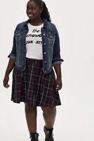 Torrid Plum Purple Plaid Twill Pleated Mini Skater Skirt Size 0 12 Large NWT