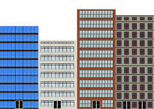 Background High-Rise Flat Front City Buildings for HO Scale Model Train Layout