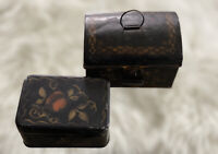 2 Antique Small Primitive Toleware Tin Boxes Tole Painted Black Dome Lidded