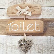 CHIC SHABBY DRIFTWOOD WOODEN BATHROOM WC TOILET THE LOO HEART DOOR PLAQUE SIGN.