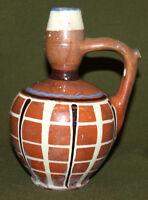 Antique hand made glazed redware pottery pitcher jug