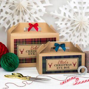 PERSONALISED CHRISTMAS EVE BOX | TARTAN | KRAFT BROWN PARTY GIFT BAG