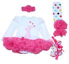 Marlegard? Baby Girls 4PCs 1st Birthday Crown Dress Headband Shoe Socks for 12M