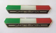 2 X Italia Bandera Ltd Edition Pegatinas/Calcomanías (Negro) - acabado de alto brillo abovedado Gel