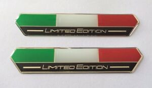 2 x 100mm Italy Flag Limited Edition Stickers (Black) - HIGH GLOSS DOMED GEL