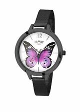 Ladies Limit Secret Garden Watch Purple Butterfly Dial Black Mesh Bracelet 6274