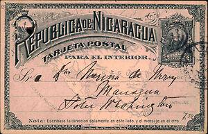 1898 Nicaragua Zier-Ganzsache ab Leon nach Managua als Bedarfspost gelaufen