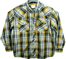 Haband Men's Size XL Long Sleeve Pearl Snap Western Shirt Button Front Plaid