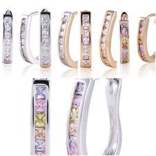 Dazzling Ladies Silver Gold CZ Huggie Hoop Earrings Hooped Sleeper 5 Colours UK