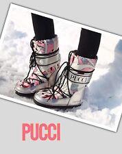 Emilio PUCCI MOONBOOTS Ski/Snow BOOTS Ladies PINK RETRO SILVER NWOB EU40/ 7.5/8*