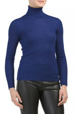 M Missoni Women's Sweater Size 44 Blue Textured Fine Knit Turtleneck Top