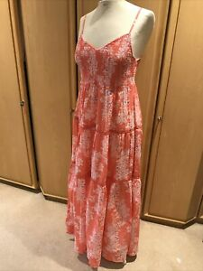 Marks & spencer Per Una Summer Dress Sz12 Cotton Peasant Tiered Floral Print