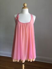 GORGEOUS BETSEY JOHNSON Pink & Peach Nylon Chiffon Nighty Lingerie SZ S Perfect!