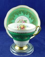 EB Foley England Flowers Floral Gold Green Band Cup Saucer Set