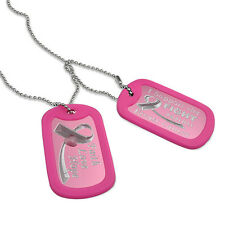 Breast Cancer Ribbon Dog Tag with Stainless Steel Bead Chain Necklace- AN045
