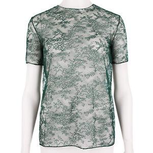 Nina Ricci Dark Green Sheer Lace Top FR34 UK6