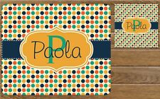 Colorful Dots Personalized Monogrammed Rectangle Mouse Pad and Coaster Set
