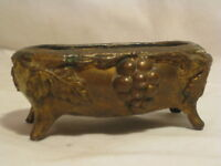 antique ornate metal trinket box container *no lid  USA grape leaf Art Nouveau