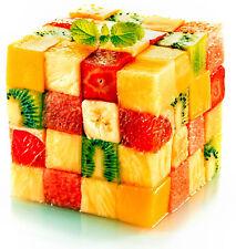 Enmarcado impresión: Cubo de frutas tropicales (imagen de alimentos Cocina Kiwi melón naranjas)