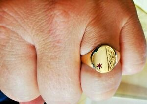 Ruby set retro Signet Ring, Hallmarked 9ct gold. Free Insured P&P #Mv
