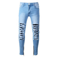 Men's Distressed Ripped Destroyed Denim Ankle Skinny Slim Fit Jeans Pants