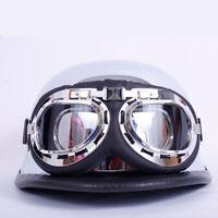 DOT German Motorcycle Half Helmet w/Goggles Chrome Silver Scooter Chopper Bike