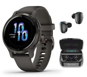 Garmin Venu 2S GPS Sport Fitness Smartwatch Slate/Graphite  with Black EarBuds