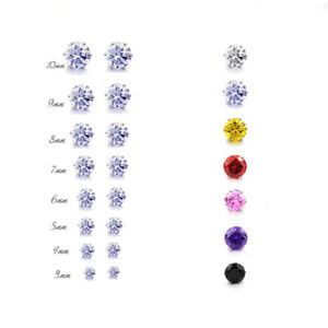CZ Stud Earrings Round Stainless Steel Multiple Colors 3 4 5 6 7 8 9 or 10mm