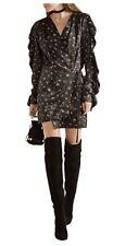 Attica Stevie Floral Black Silk-Satin Wrap Mini Dress, Designer Size 3/ M- L