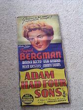 Original Rare CINEMA MOVIE POSTER i941 INGRID BERGMAN Adam Had Four Sons