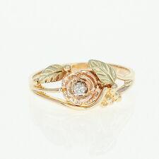 Diamond Flower Ring - 10k Yellow Gold Yellow Rose Green Coleman Black Hills Gold