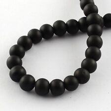 "133 Black Glass Beads Rubberized Glass 6mm Bulk Wholesale 32"" Strand"