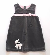 "Gymboree ""Tres Fabulous"" White Poodle Gray Velveteen Jumper Dress, 2T"