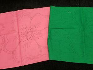 Vintage Applique Quilt Kit Stamped Pink Green Wild Rose Herrschner #2506 Estate