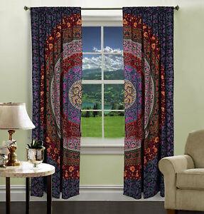 Road Pocket Window, Arch Door, Balcony Twin Size Curtain Home Decor Mandala Art