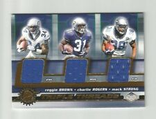 2001 IMPRESSIONS REGGIE BROWN CHARLIE ROGERS MACK STRONG GAME-USED JERSEYS #34 A