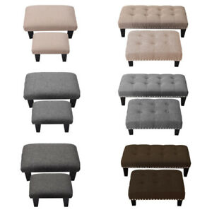 Pouffe Foot Stool Footstool Soft Fabric Tufted Ottoman Bench Seat Chair Wooden