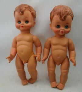 "2 Vintage 15"" Unica Boy Baby Dolls - Made in Belgium"