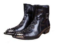 US Size 5-12 Vintage Black Leather Steel Toe Side Zipper Ankle Boots Mens Shoes