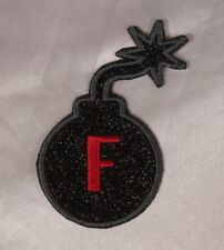 Embroidered Glitter Sparkle Black F Bomb Swear Word Funny Applique Patch Iron On