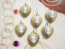 10 PC LOT Brass BLUE Heart Lockets w/ White Victorian Lady Cameos