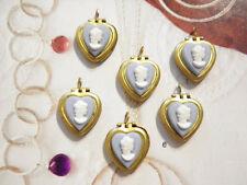 10 PC LOT Brass BLUE Heart Lockets w/ White Victorian Lady Cameos