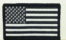 American Flag Iron-On Patch USA White Black Military Morale Emblem Black Border