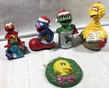 Vtg Mix Lot Of 5 Sesame Street Ornaments Oscar The Grouch Big Bird Elmo Grover